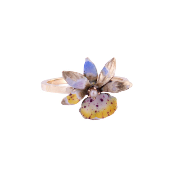 10K Gold Enamel Flower Ring