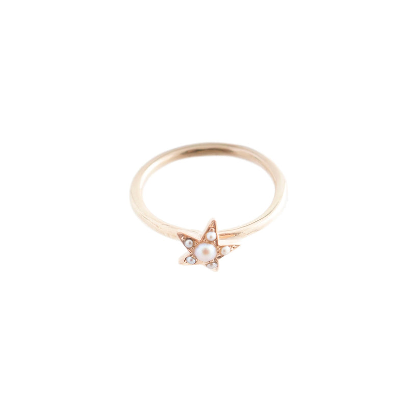 Seed Pearl Star Stacking Ring
