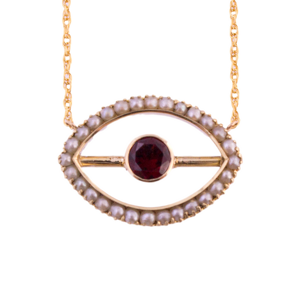 14K Cultured Pearl Garnet Evil Eye Necklace