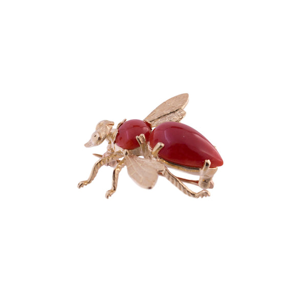 Gump's 14K Gold Coral Bee Pin