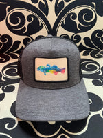 Load image into Gallery viewer, color fish black roadie trucker hat