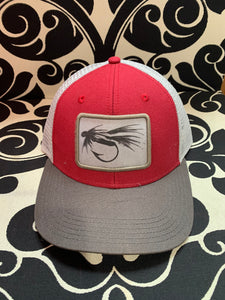 black & white fly red mid pro trucker hat