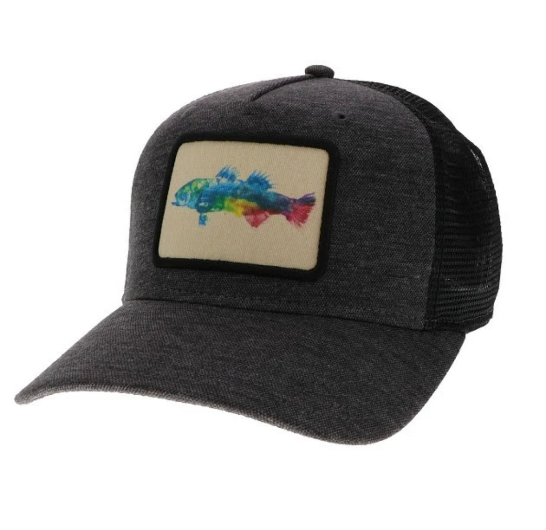 color fish black roadie trucker hat