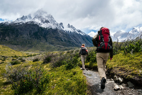 Two hikers on a trail heading towards mountains