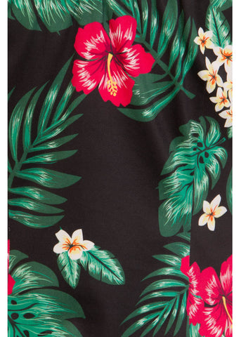 Collectif Lorena Tropical 50's Paradise Top Schwarz