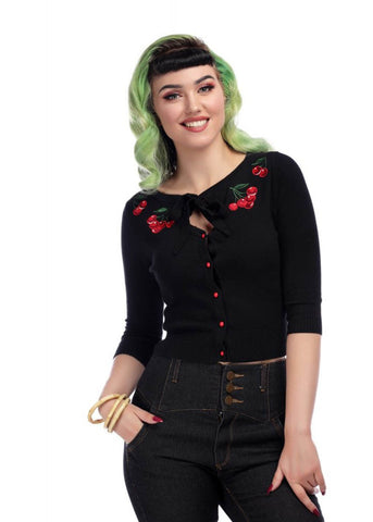 Collectif Charlene Cherries 50's Cardigan Schwarz