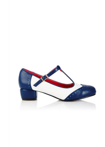 Lulu Hun Georgia 50's Blockabsatz Pumps Navy Elfenbein