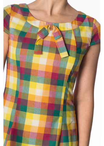 Banned Rainbow Check Built Up 60's Kleid