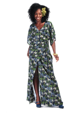 Collectif Kelly Palm Tree 70's Maxi Kleid Navy