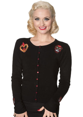 Banned Sacred Heart 50's Cardigan Schwarz