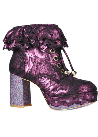 Irregular Choice Frilly Knickers Stiefeletten Rosa