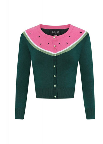 Collectif Jessie Watermelon 50's Cardigan Dunkelgrün