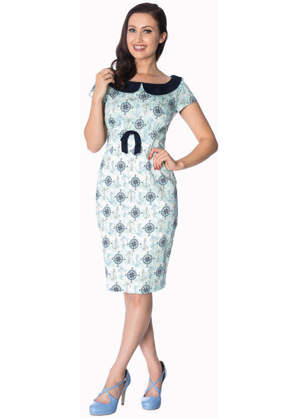 Banned Compass Pencil Kleid Hellblau