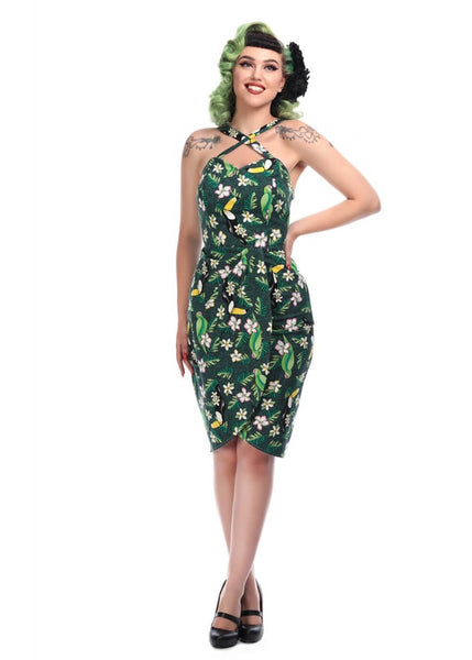 Collectif Mahina Tropical Bird Sarong Kleid Grün