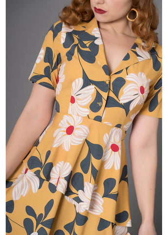 Sheen Naina Floral 40's Kleid Gelb