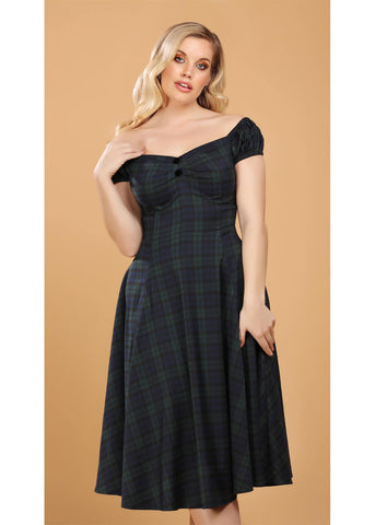 Collectif Dolores Blackwatch Check 40's Swingkleid Multi