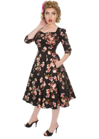 Hearts & Roses Metallic Magnolia 50's Swingkleid Schwarz