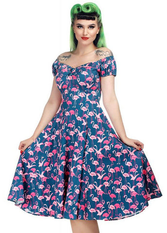 Collectif Dolores Flamingo Flock 50's Swingkleid Multi