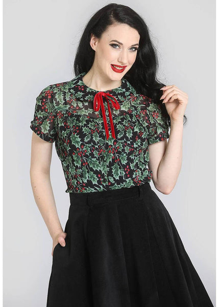 Hell Bunny Holly Berry 40's Bluse Schwarz