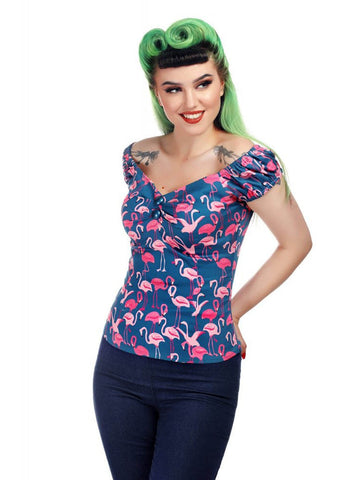 Collectif Dolores Flamingo Flock 50's Top Blau Rosa