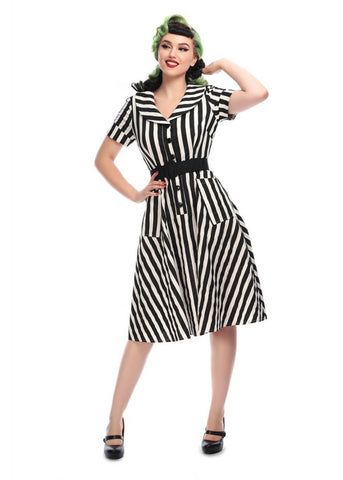 Collectif Brette Striped 50's Swing Kleid Schwarz Weiß