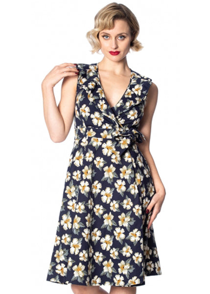 Banned Beach Babe 50's Swingkleid Navy