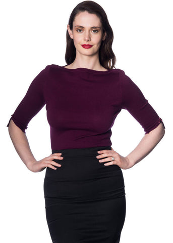 Banned Addicted 50's Sweater Aubergine