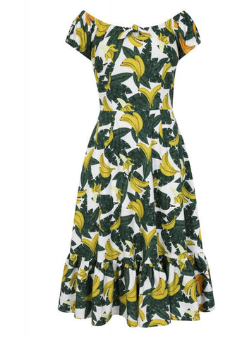 Collectif Lorena Tropical Banana 50's Swingkleid Grün Gelb