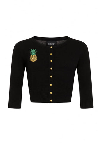Collectif Lucy Pineapple 50's Cardigan Schwarz