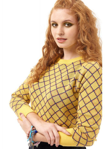 Bright & Beautiful Aubrey Harlequin 70's Pullover Gelb