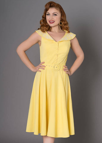 Sheen Freda 50's Swingkleid Gelb