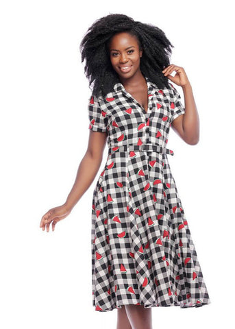 Collectif Caterina Watermelon Gingham 50's Swingkleid Multi