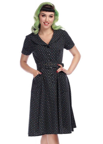 Collectif Brette Polkadot 50's Swingkleid Schwarz