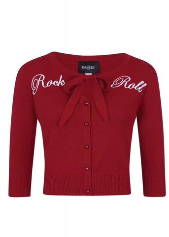Collectif Charlene Rock & Roll 50's Cardigan Rot