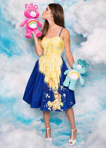 Unique Vintage x Care Bears Funshine Bear 50's Swingkleid Blau Gelb