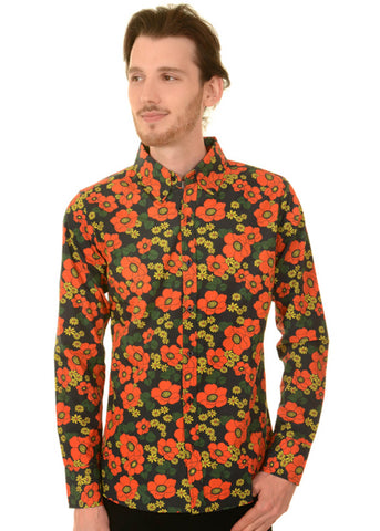 Run and Fly Herren Poppy 70's Shirt Schwarz