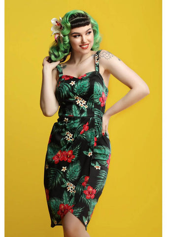 Collectif Mahina Tropical Paradise 50's Sarongkleid Schwarz