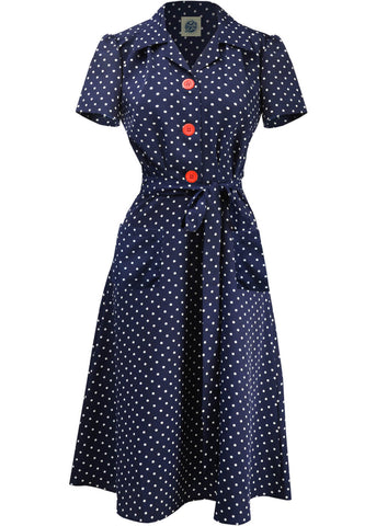 Pretty Retro Landgirl Polkadot 40's Kleid Navy