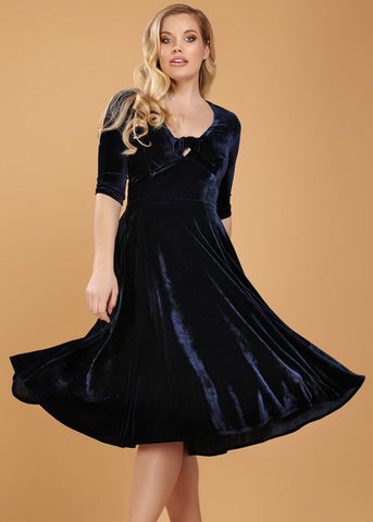 Collectif Moira Velvet 50's Swingkleid Navy