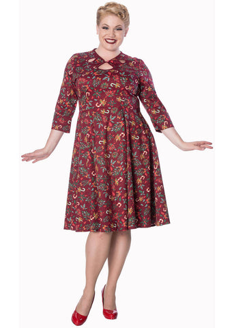 Banned Autumn Leaves 50er Swingkleid Burgund
