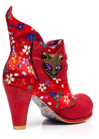 Irregular Choice Miaow Floral Stiefeletten Rot
