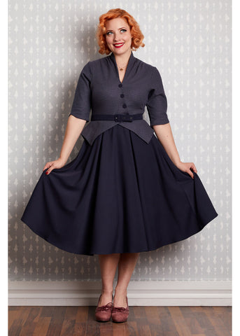 Miss Candyfloss Panna Lee Houndstooth 50's Swingkleid Navy