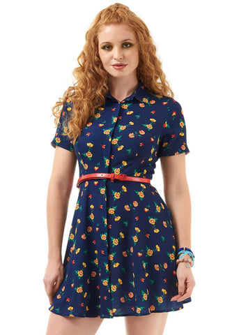 Bright & Beautiful Talis Painted Floral 60's Kleid Navy