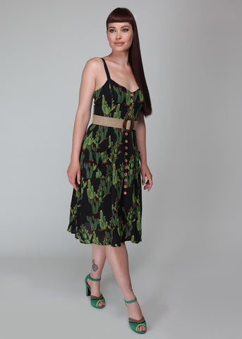 Collectif Kimberly Cactusland 50's Swingkleid Schwarz