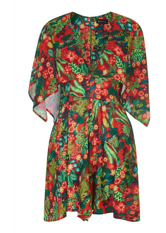 Bright & Beautiful Tina Tropical Paradise 70's Playsuit Multicolor