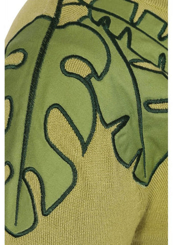 Collectif Chrissie Tropical Leaf 50's Jumper Grün