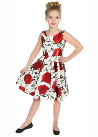 Hearts & Roses Kids Athena Metallic 50's Swingkleid Weiß