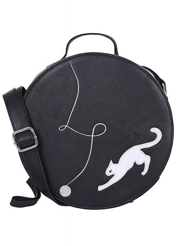 Collectif Sally Kitty Cat 50's Tasche Schwarz Weiß