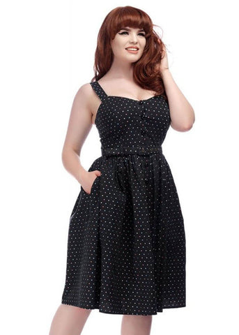Collectif Jemima Polkadot 50's Swingkleid Schwarz