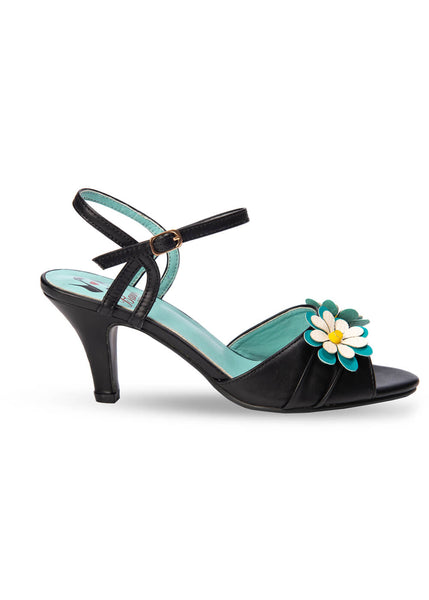 Banned Dazed Blossom 50's Pumps Schwarz Aqua